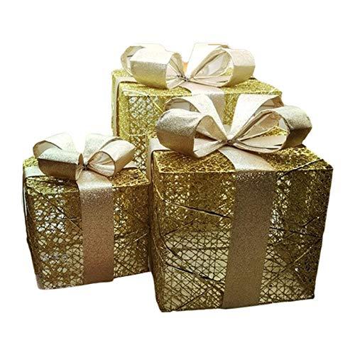 adfafw 3 juegos de decoraciones de caja de regalo iluminada de Navidad, 3 juegos de 50 luces LED de Navidad cajas de regalo con luces LED de color blanco cálido, para decoración de fiesta en el hogar