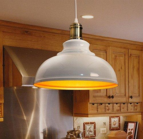 Elegante Weiß Modern Metall Pendelleuchte Hängeleuchte Φ 30cm für E27 Leuchtmittel Eisen Lampenschirm für Esszimmer, Wohnzimmer, Restaurant