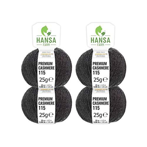 100% Premium Kaschmir Wolle in 12 Farben (weich & kratzfrei) - 100g Set (4 x 25g) Fingering - Edle Cashmere Wolle zum Stricken & Häkeln von Hansa-Farm - Anthrazit (Grau)