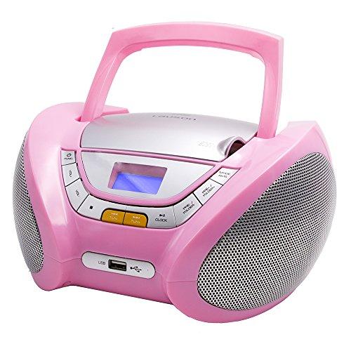 LAUSON CP448 CD Player USB | Radio mit CD Spieler | CD Player für Kinder Pink | Stereoanlage Boombox | Tragbares Stereo (Rosa)