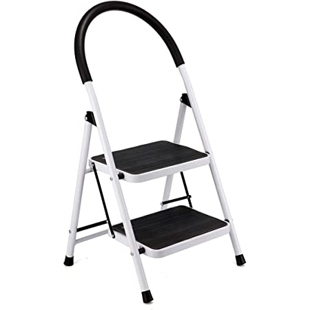KingSo 2 Step Ladder Aluminum Lightweight Folding Step Stool with Rubber Hand Gripand & Wide Anti-Slip Platform Sturdy Portable Stepladder Suitable for Use in Home Kitchen Patio