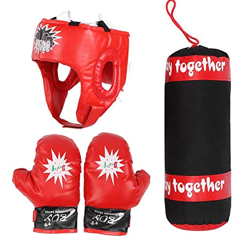 Kinderen geschenkdozen opknoping strijd training zandzak handschoenen helm Kids Punching Bag Set for Children jeugd,Red
