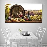 TAHMM Cuadro en lienzo con diseño de barril de vino y pan de campo, cuadro de pared, arte de sobrevivir, dormitorio, cocina, decoración moderna, sin marco (tamaño: 80 x 40 cm, sin marco)
