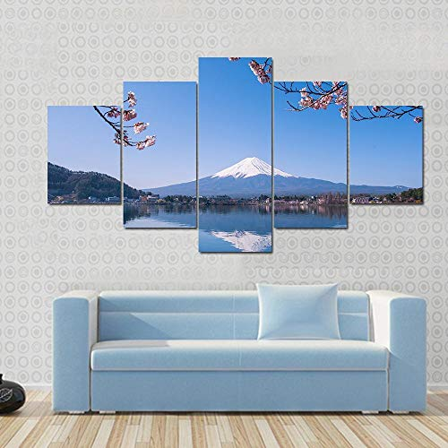 NNNLX Impresiones sobre Lienzo,Impresión Mural 5 Piezas, Montaña Nevada y Cerezo,Poster Mural,Decoración Arte De La Pared del Hogar,con Marco,Listo para Colgar