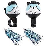 minghaoyuan Timbre de bicicleta para niños, campana para patinete infantil, lindos dibujos animados panda y 1 par de serpentinas de bicicleta, accesorio de decoración de bicicleta (azul)