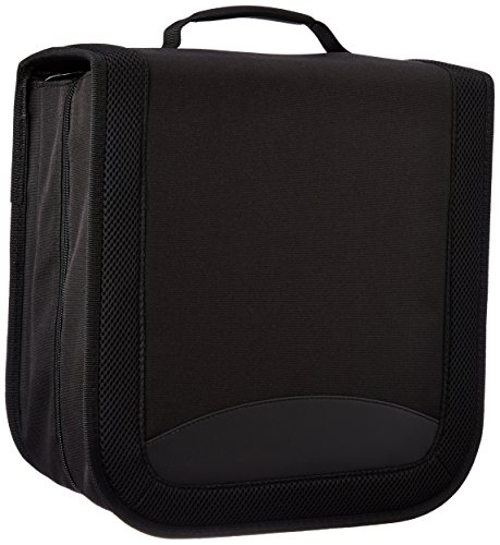 Amazon Basics - Funda de nailon para CD/DVD (capacidad para 400 discos), color negro