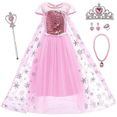 O.AMBW Cosplay Princesa Elsa y Anna Disfraces para Nios Azul Vestidos de Nia Rosa con Capa Larga Reina Disfraces y Accesorios de Frozen Carnaval Halloween Regalo de Cumpleaos de Navidad