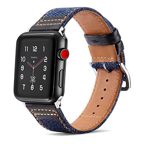 Tasikar para Correa Apple Watch 44mm 42mm Diseño Híbrido de Mezclilla de Cuero Genuino Correas de Repuesto Compatible con Apple Watch SE Series 6/5/4/3/2/1 (42mm 44mm, Negro)