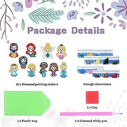 12 Pcs Digital Diamond Paint Cartoon Stickers Shine Sparkle Mosaic Stickers DIY Handmade Diamond Art for Pokemon by Numbers Kits bubqooi 5D DIY Kids Diamond Painting Stickers Kits for Kids