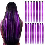 15Pcs Extensions de cheveux raides de couleur violette Clip en 20 pouces Clip synthétique violet dans les extensions de cheveux Faits saillants du parti Clip synthétique en postiche long pour femmes