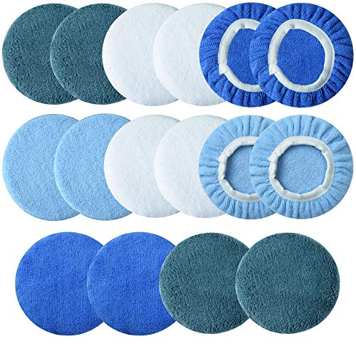 SIQUK 30 Packs Polishing Bonnet Pads 5 to 6 Inches Including 12 Packs Microfiber Car Polishing Bonnet 4 Packs Waxing Bonnet 10 Packs Non-Woven Buffing pad 2 Packs Cotton Bonnet for Car Polisher and