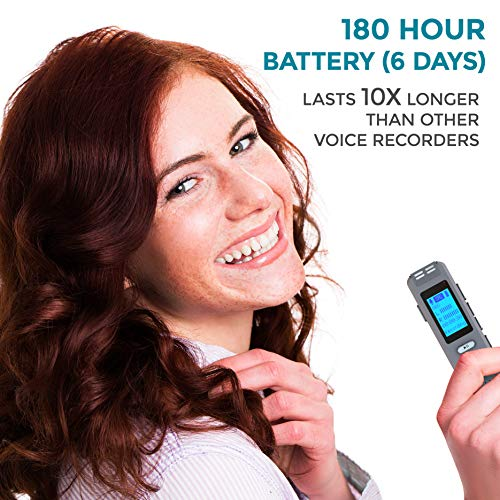 32GB Dictaphone Voice Recorder with 180 Hour Battery - Expandable to 64GB - MP3 Player - Recording Microphone for Lectures - JiGMO (JVR32-32G)