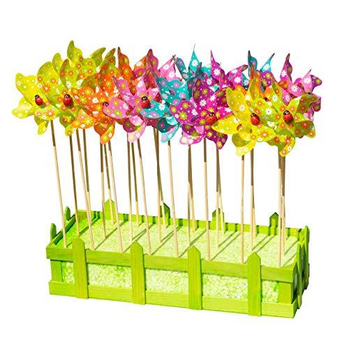 CIM Moulins à Vent - Moulin Set 24 Fleur - résiste aux UV et aux intempéries - Moulin : Ø9cm, Hauteur Totale : 28cm - Livré monté avec Tige de Support et bac à Fleurs décoratif
