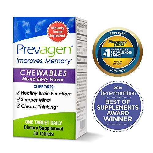 Prevagen Improves Memory - Regular Strength 10mg, 30 Chewables |Mixed Berry| with Apoaequorin & Vitamin D | Brain Supplement for Better Brain Health, Supports Healthy Brain Function and Clarity