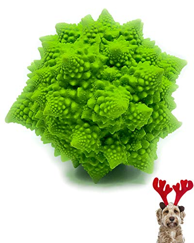 XL Squeaky Dog Toys for Lage Dogs - Sensory Broccoli - Rubber Latex Complies with Same Safety Standards as Kids Toys (Green)