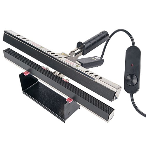 "Absorbent Industries 12"" Portable Hand Crimper Sealer Constant Heat For Poly or Mylar/Foil Bags, Black"
