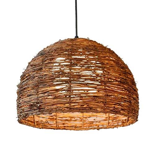 Dongyd Kroonluchter, rotan bal hanglamp industriële vintage hanglamp bamboe plafond hanglamp met E27 aansluiting voor bar café restaurant eettafel huis decoratie