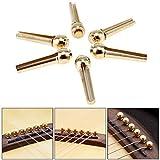 OriGlam - Set di 6 piroli per ponticello della chitarra, perni in ottone e rame, chiodi per corde per chitarra acustica folk