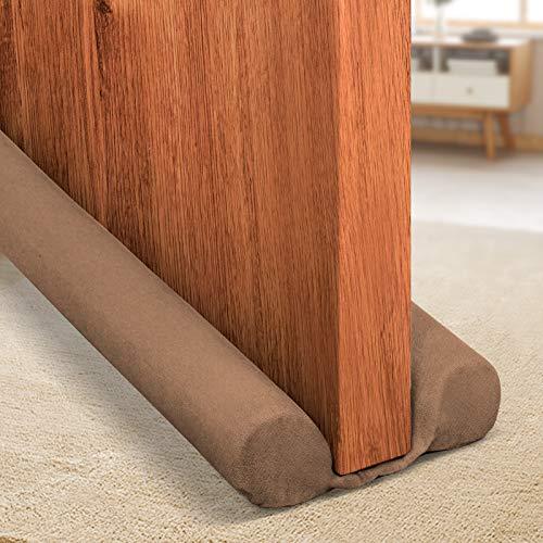 Holikme Twin Door Draft Stopper 34-inch Under Adjustable Door Draft Blocker Insulator Isolation The Light and Smell(Brown)