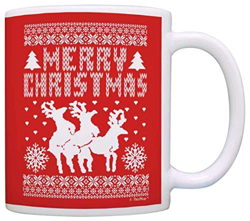 Suéter feo de Navidad con reno, divertido secreto, regalo de Papá Noel, taza de té, Navidad