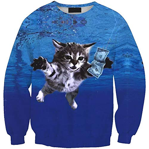 Unisex Space Cat 3D Graphic Printed Novelty Animal Galaxy Crewneck Sweatshirts Pullover for Party Men Women Wy - 1395 XL