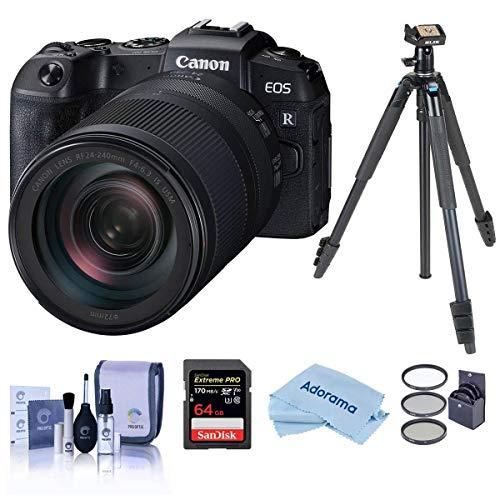 Câmera digital sem espelho Canon EOS RP 26,2 MP com lente RF 24-240 mm f/4-6.3 IS USM – Pacote com tripé de viagem Slik Sprint Pro III BH com cabeça esférica SBH-100, preto, cartão SDXC de 64 GB. E mais.