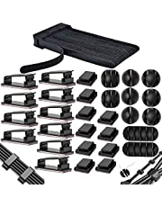 Kabelbinders met klittenband, 40 stuks kabelklemmen/kabelclips + 10 stuks kabelhouders, zelfklevende kabelklemmen, kabelmanagement-organizer kit voor bureau