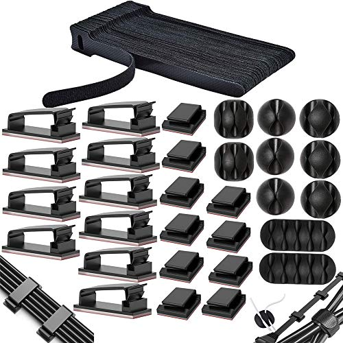 MiuCo 50 Stück Kabelbinder Klettband/Kabel Klettband+40 Stück Kabelklemme/Kabel-Clips+10 Stück Kabelhalter Selbstklebende Kabelschellen, Kabel Management Organizer Kit für Schreibtisch(100 Stück)