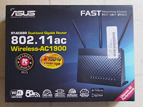 ASUS (RT-AC68R) Wireless-AC1900 Dual-Band Gigabit Router