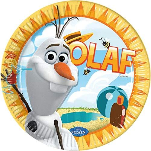 Procos 10074606 84621 8 x Frozen Olaf Sommer Pappteller-Groß 23cm, Multi-Colored