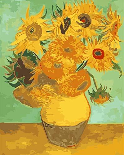 Malen nach Zahlen für Erwachsene, Acryl-Malset für Anfänger, 40,6 x 50,8 cm, mit 3 Pinsel und Acryl-Pigmenten Van Gogh Sonnenblume