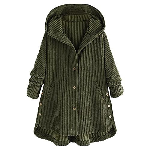 Hailmkont Abrigo de invierno para mujer, estilo vintage, de pana grande, con capucha, de manga larga, forro polar, con cremallera gruesa, verde, M