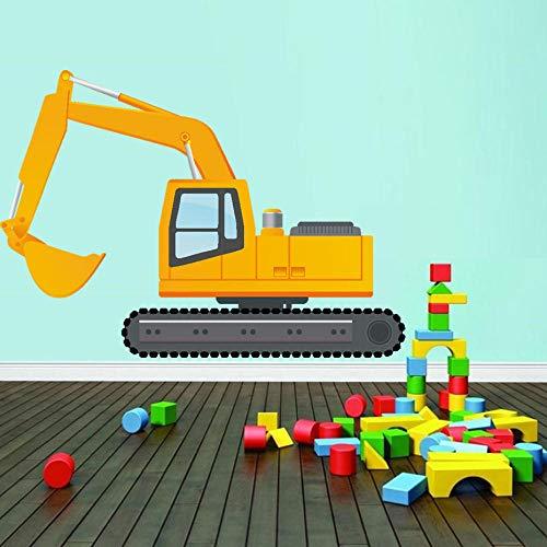Bouw Voertuigen Muurstickers Werken Heftruck Mixer Vrachtwagen Crane Truck Muurstickers voor Kinderen Babies Babykamer