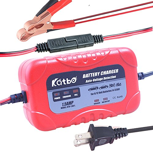 Katbo Battery Charger Automatic Maintainer 6V 12V Automatic Smart for Auto Car Motorcycle Lawn Mower ATVs RVs AGM GEL Lead Acid Batteries
