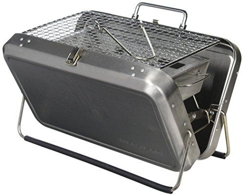 Kikkerland BQ01 Portable BBQ Suitcase, Silver