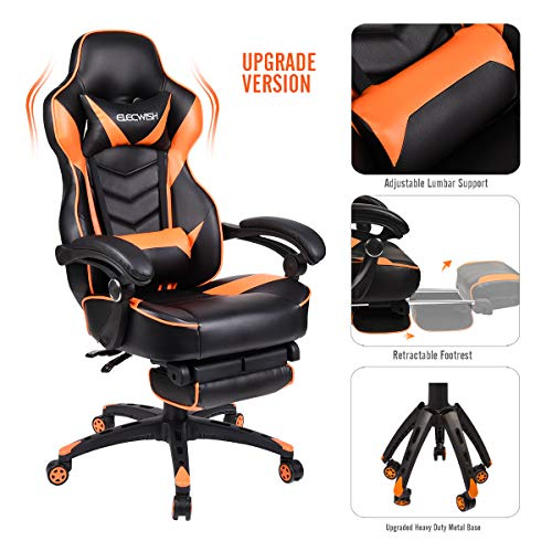 Video Gaming Chair Racing Office - Reclining PU Leather High Back Ergonomic Adjustable Swivel Executive Computer Desk Large Size Footrest Headrest Lumbar Support Adjustable arms Cushion (Orange) chair gaming orange