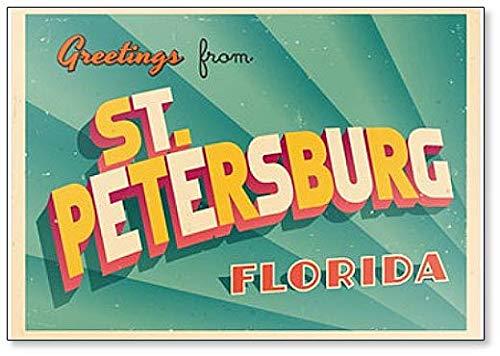 Vintage Touristic Greeting Illustration From St. Petersburg, Florida Fridge Magnet