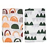 Nightingale Baby Swaddle Blankets - Organic Bamboo Muslin Swaddle Blankets Unisex - Silky Soft, Lightweight, Breathable, Large 47 x 47 in, 70% Bamboo/30% Cotton - 2 Pack (Mountains/Rainbows)…