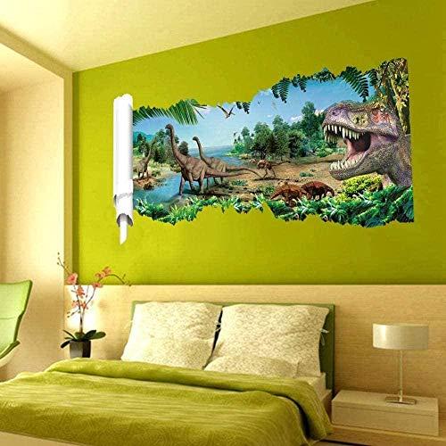 MXLYR 3D pegatinas de pared rotas Calcomanías de pared, póster estéreo de dinosaurio, papel, sala de estar, TV, Fondo, pared, dibujos animados, decoración de jardín de infantes, pegatinas de suelo
