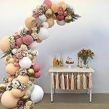106 piezas Kit de balón guirnalda, arco balón, globos blancos, globos rosa, globos beige y globos metálicos para cumpleaños, bodas, fondo fiesta, decoración