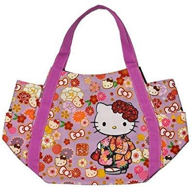 Sanrio Hello Kitty, Patrones japoneses, Bolso Bolso de Mano para niñas, 30x49x22cm, importación de Japón (Kimono & Flowers 4025)