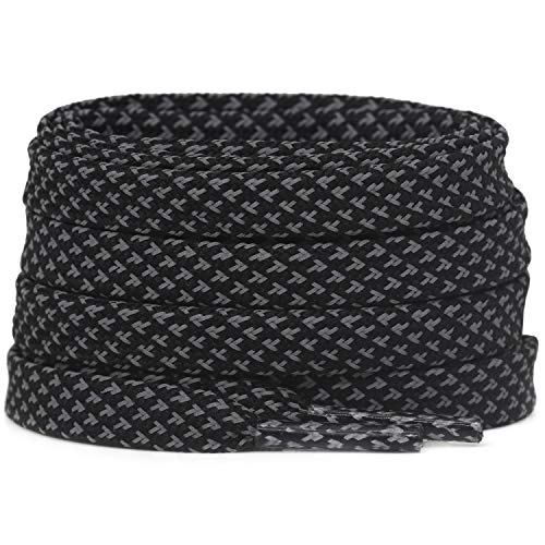 DELELE 2 Pairs 3M Reflective Shoelace Flat Black Safety Laces for Shoes Sneakers Boots 39 inches