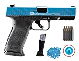 Wearable4U Umarex T4E TPM1 (8XP) .43 Cal Blue/Black Paintball Marker Training Pistol with Pack of 100 .43 Cal Blue Paintballs and 5x12gr CO2 Tank Bundle (Blue/Black)
