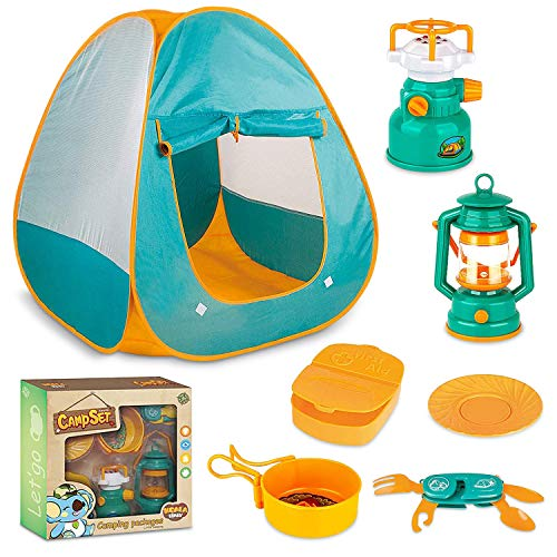 MEICENT Kids Camping Play Tent, Camping Gear Set for Indoor Outdoor Pretend Toys for Toddler Boys Girls