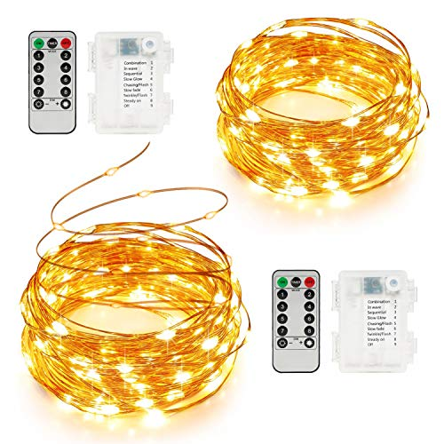 SUNNEST String Lights Battery Operated, 2 Pack Fairy Lights 16.4 Feet 50 LEDs Twinkle Lights Remote Control Timer 8 Modes Fairy String Lights for Bedroom Garden Party Indoor Decor