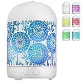 GeeRic Humidificador Aceites Esenciales,300ml humificador de Aromas en Metal Difusor de Aceite perfumado Nebulizador silencioso para aceites Esenciales con 7 Colores LED para Yoga Oficina Blanco