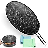 INYOU Splatter Screen for Cooking, Splatter Screen 13in w Silicone Handle, Grease Splatter Guard for Frying Pan Multi-use Cooling Mat, Drain Board & Water Strainer, 2 Rag