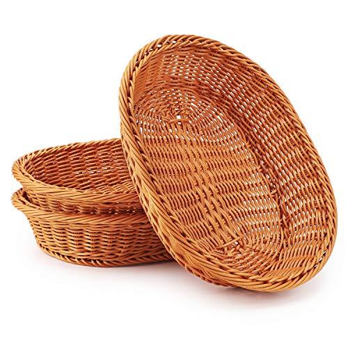 Wicker Basket, Eusoar 12.2'x 9.5'x 2.8' 3pcs Tabletop Food Serving Baskets Trays, Bread Proofing Basket, Food Fruit Vegetables Sundries Storage Basket for Restaurant Bakery Family Party