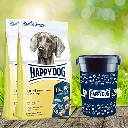 Happy Dog 2 x 12 kg + Futtertonne 43 Liter Fit & Vital Light Calorie Control