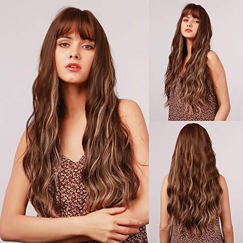 HAIRCUBE Braune Mischung Blond Locken Perücke Natürlicher Mittelteil Synthetische Haar Perücke für Frauen (Ombre Hellblond)